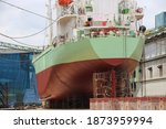 Cargo Ship Moored In Floating...
