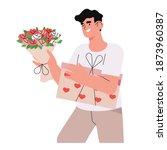 romantic male character holds... | Shutterstock .eps vector #1873960387