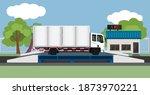 large trucks carrying cargo...   Shutterstock .eps vector #1873970221