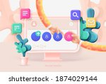 social media template. computer ... | Shutterstock .eps vector #1874029144