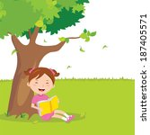 girl outdoor reading. vector... | Shutterstock .eps vector #187405571
