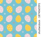 seamless pattern with easter... | Shutterstock .eps vector #1874065591