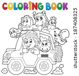coloring book car traveller... | Shutterstock .eps vector #187408325