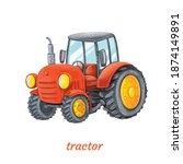 funny cartoon tractor. vector...