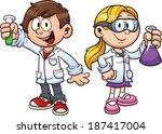 scientist kids. vector clip art ... | Shutterstock .eps vector #187417004