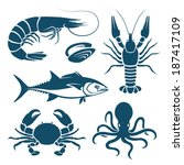 Set of blue seafood symbols - stock vector
