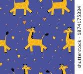 vector pattern of funny cartoon ... | Shutterstock .eps vector #1874175334