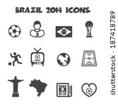 brazil 2014 icons, mono vector symbols