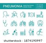 flu and pneumonia icons set....   Shutterstock .eps vector #1874190997