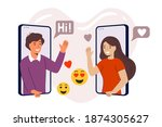 online dating young man and...   Shutterstock .eps vector #1874305627