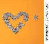 Broken Puzzle Heart Shape On...