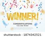 golden winner word on white... | Shutterstock .eps vector #1874342521