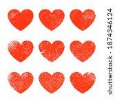 vector grunge heart shape. red... | Shutterstock .eps vector #1874346124