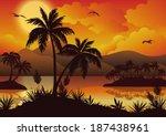 tropical landscape  sea islands ... | Shutterstock .eps vector #187438961