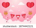 a heart shaped balloon floating ... | Shutterstock .eps vector #1874442121