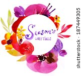 colorful floral frame with... | Shutterstock . vector #187449305