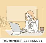 woman is working on her laptop. ... | Shutterstock .eps vector #1874532781