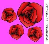 rose flower icon illustrations...   Shutterstock .eps vector #1874546164