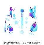 covid 19 nasal swab test ...   Shutterstock .eps vector #1874563594
