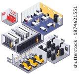 data center facility interior... | Shutterstock .eps vector #1874621551