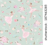 Seamless floral background with dancing ballerinas. Vector vintage pattern.