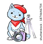 cute cartoon cat with beret and ... | Shutterstock .eps vector #1874646754