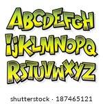 Cartoon comic doodle font alphabet. Vector