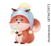 Cute Squirrel In A Hat With...