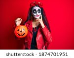 woman wearing day of the dead... | Shutterstock . vector #1874701951