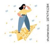 woman on paper money plane.... | Shutterstock .eps vector #1874741284