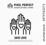 rising hands with hearts on... | Shutterstock .eps vector #1874763271