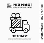 gift delivery  truck with big... | Shutterstock .eps vector #1874764201