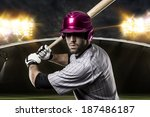 baseball player on a pink... | Shutterstock . vector #187486187