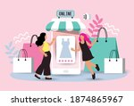 women happy with shopping on...   Shutterstock .eps vector #1874865967