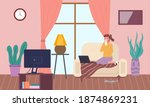 female character having a cold... | Shutterstock .eps vector #1874869231