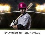 baseball player on a pink... | Shutterstock . vector #187489637