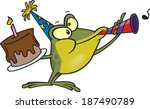 cartoon frog with a birthday cake and a horn