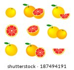 collection of grapefruits ... | Shutterstock .eps vector #187494191