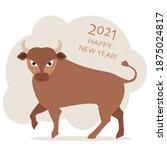 cute bull on gray background... | Shutterstock . vector #1875024817