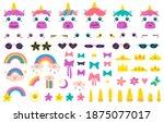 unicorn faces. cute fairytale... | Shutterstock .eps vector #1875077017