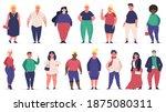 body positive people. plus size ...   Shutterstock .eps vector #1875080311