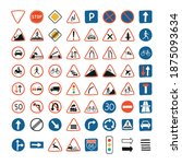 cute set with road signs and... | Shutterstock .eps vector #1875093634