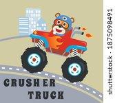 cartoon vector of monster truck ... | Shutterstock .eps vector #1875098491