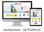 online delivery service vector...