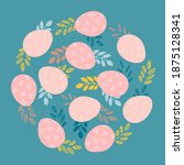 easter eggs with a floral... | Shutterstock .eps vector #1875128341