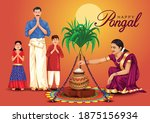 happy pongal celebration with... | Shutterstock .eps vector #1875156934