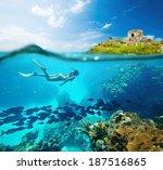 beautiful coral reef caribbean... | Shutterstock . vector #187516865