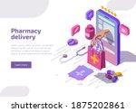 pharmacy delivery banner.... | Shutterstock .eps vector #1875202861