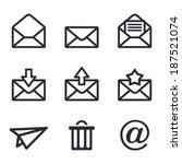 mail icons set  envelope  plane ... | Shutterstock .eps vector #187521074