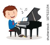 boy playing piano. pianist.... | Shutterstock .eps vector #187522154